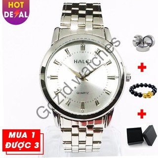 Đông hồ nam dây thép không gỉ trắng Halei H001 -Gozid.watches