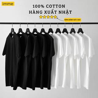 Áo Thun Tay Lỡ IMME Dáng Unisex Form Rộng Cho Nam Nữ Tay Ngắn Màu Đen Trắng – Hàng Xuất Nhật 100% Cotton 190g/m2