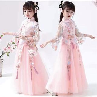 Đầm cổ trang thu đông cho bé gái 5-14 Tuổi