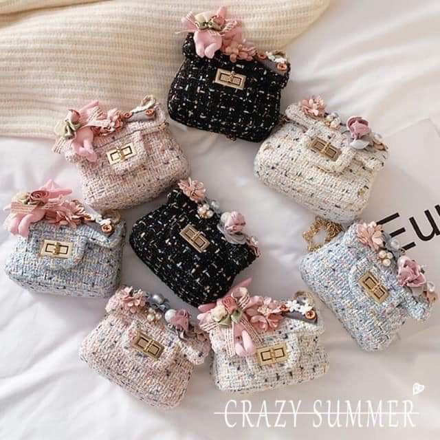 Túi xách chất dạ đính hoa cao cấp cho bé gái