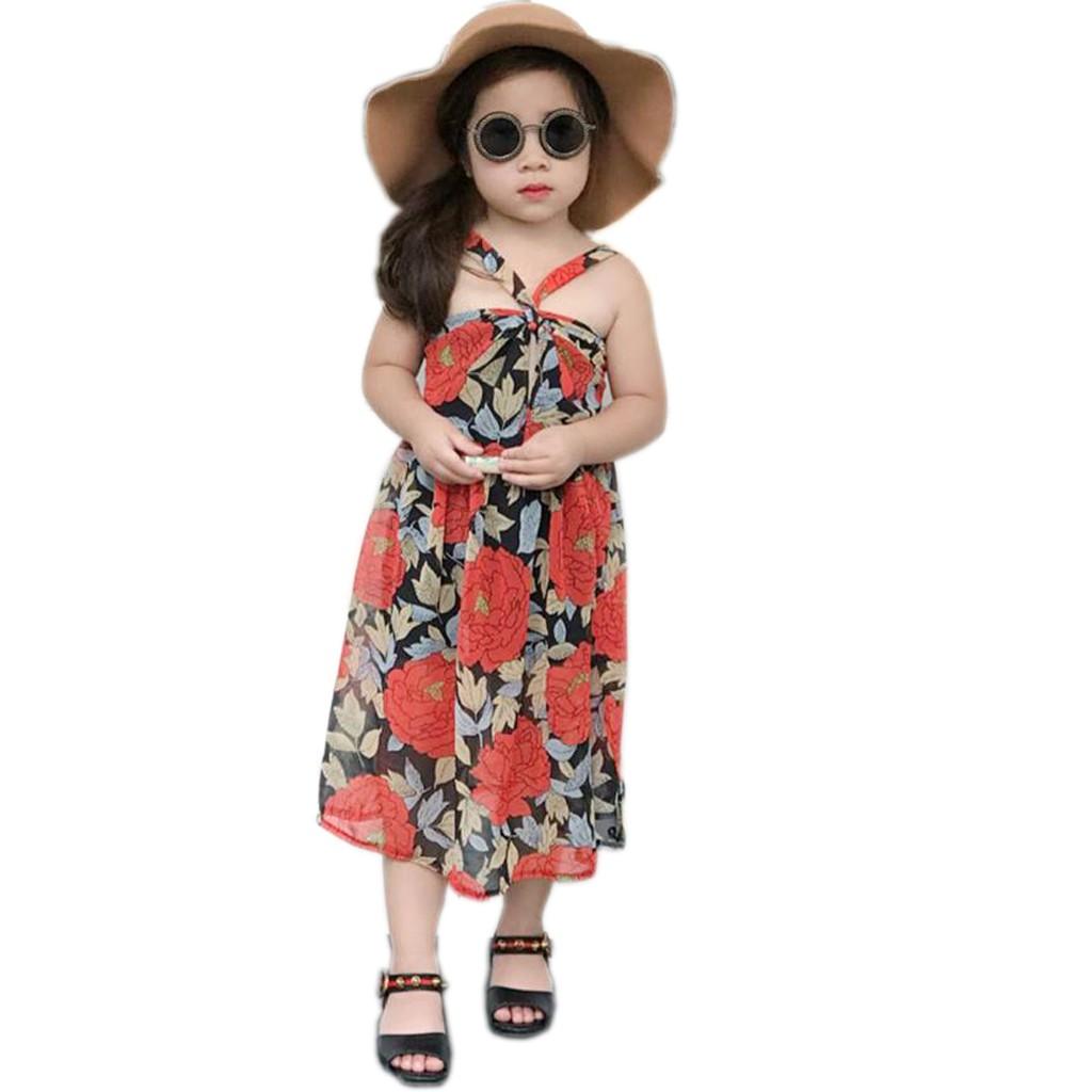 Đầm Maxi đi biển dễ Thương cho bé 8kg - 25kg