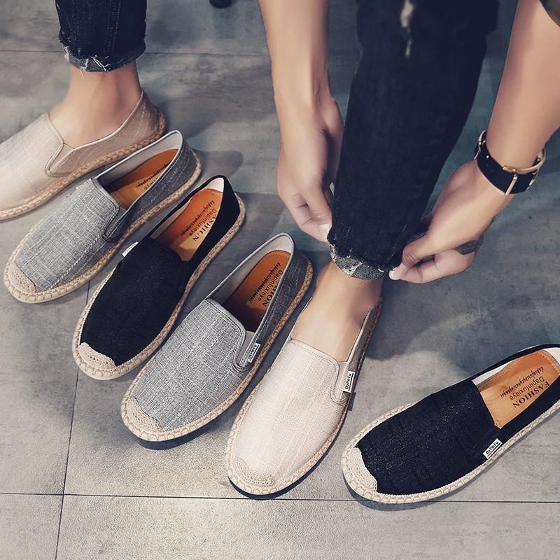 Slip on nam 2019 - Giày lười vải nam cao cấp - 3 màu đen, xám và be - Mã SP 2917