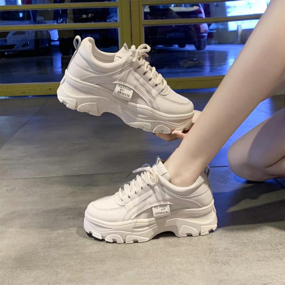 (Freeship +TẶNG TẤT) Giầy thể thao nữ,sneakers ULzzang full trắng độn đế năng động và cá tính T140