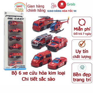 Xe ô tô đồ chơi set 6 xe cứu hỏa cảnhsát cho bé KAVY bằng kim loại nguyên khối bền bỉ có thể trang trí thumbnail