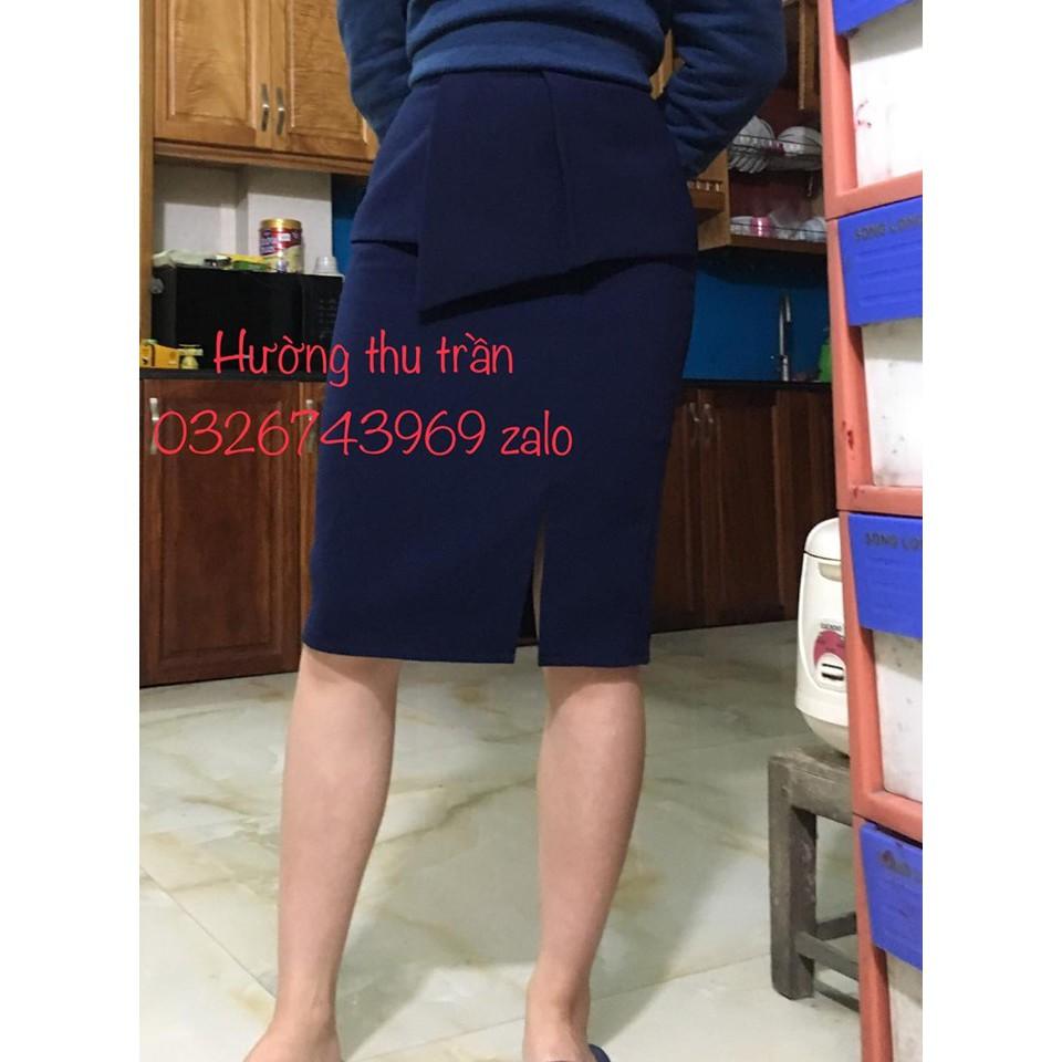 Chân váy bút chì xẻ trước xếp li vạt bụng thời trang công sở
