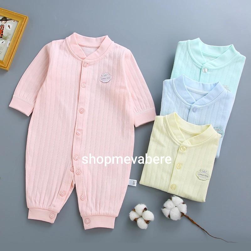 Body liền thân dài tay cotton cho bé trai và bé gái sơ sinh từ 3-14kg, hàng đẹp xuất Hàn