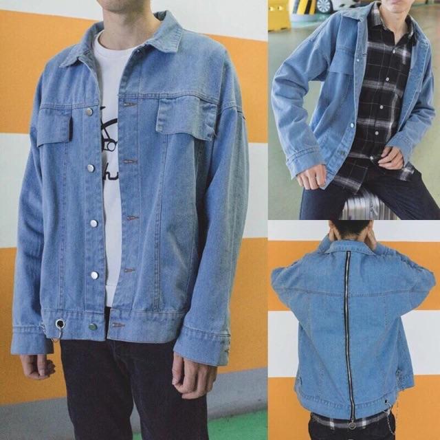 Áo khoác jean form rộng kiểu dây kéo lưng - Áo khoác jeans- Khoác jean đẹp, chất Áo khoác jeans