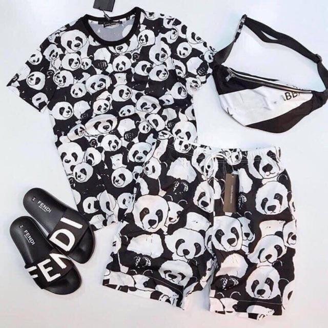 Quần áo nam   Bộ hè nam in gấu trúc 3D - Set quần áo nam hình gấu trúc Bộ hè
