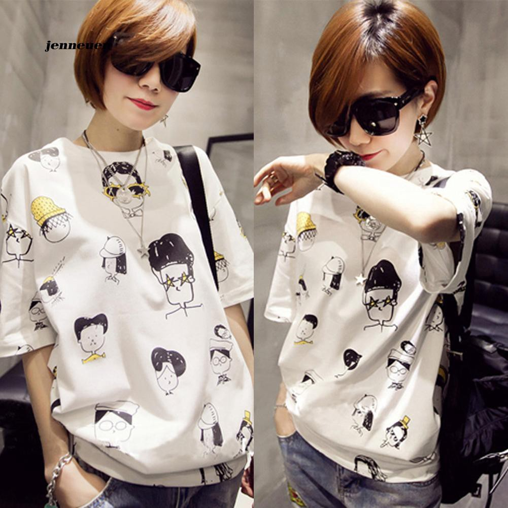 Funny Cartoon Faces Printed Half Sleeve Casual Loose O-Neck Summer Women Top Tee