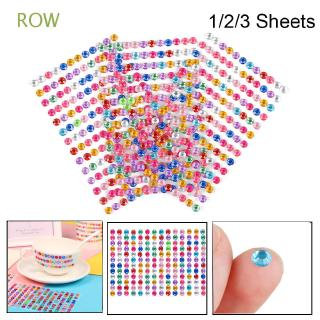ROW 1/2/3 Sheets 6mm Diy Children's toys Car beauty accessories Self Adhesive|Diamond|Sticker