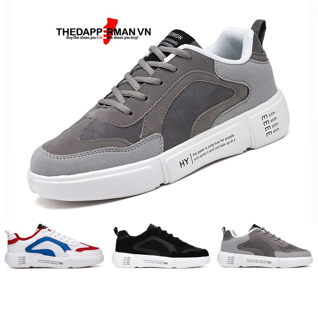 Giày nam thể thao sneaker THEDAPPERMAN WD887 chất liệu da lộn, đế cao su nhiệt dẻo, êm chân, chống trơn trượt, màu xám