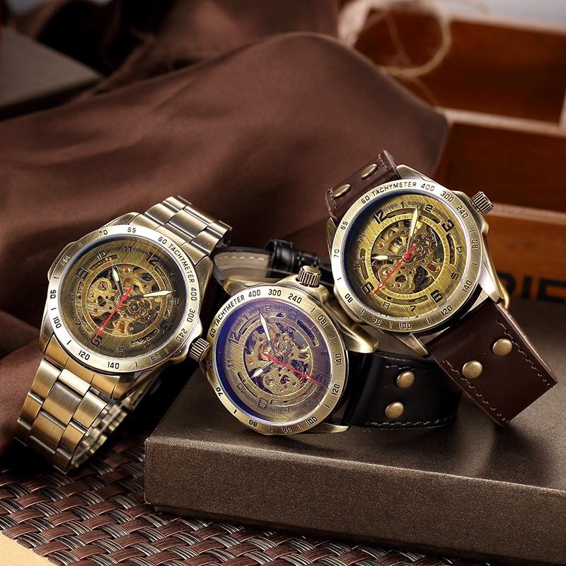 Đồng hồ cơ tự động dây da phong cách Retro cho nam