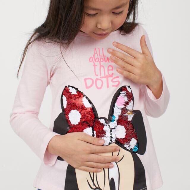 Áo cotton H.M dài tay Mickey thêu kim sa lật mặt đang được các bé yêu thích