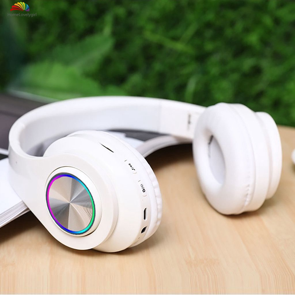 ❤ Led Wireless Headset Bluetooth 5.0 Stereo OverEar Foldable Headphones With Mic For PC 【HL】