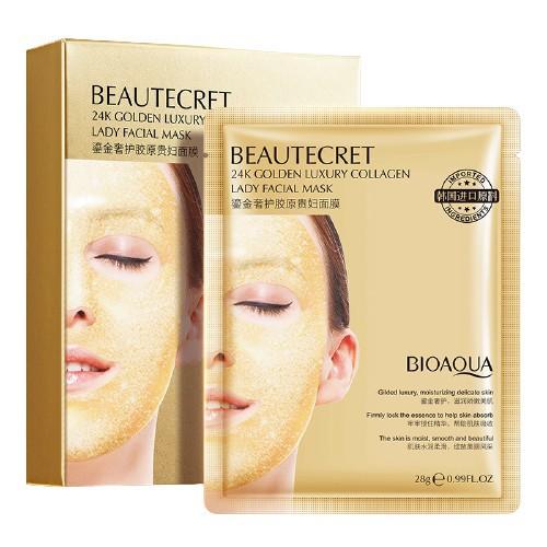 Mặt nạ thạch collagen BEAUTECREC Bioaqua cấp nước 24k giúp da căng bóng mịn màng