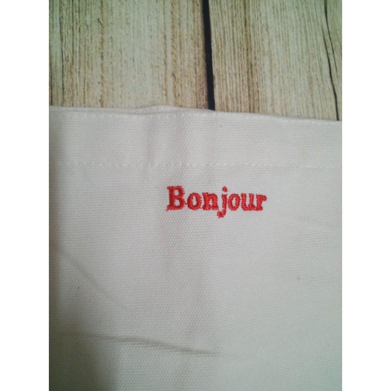 Túi vải thêu_ Túi Ulzzang vải canvas thêu Bonjour