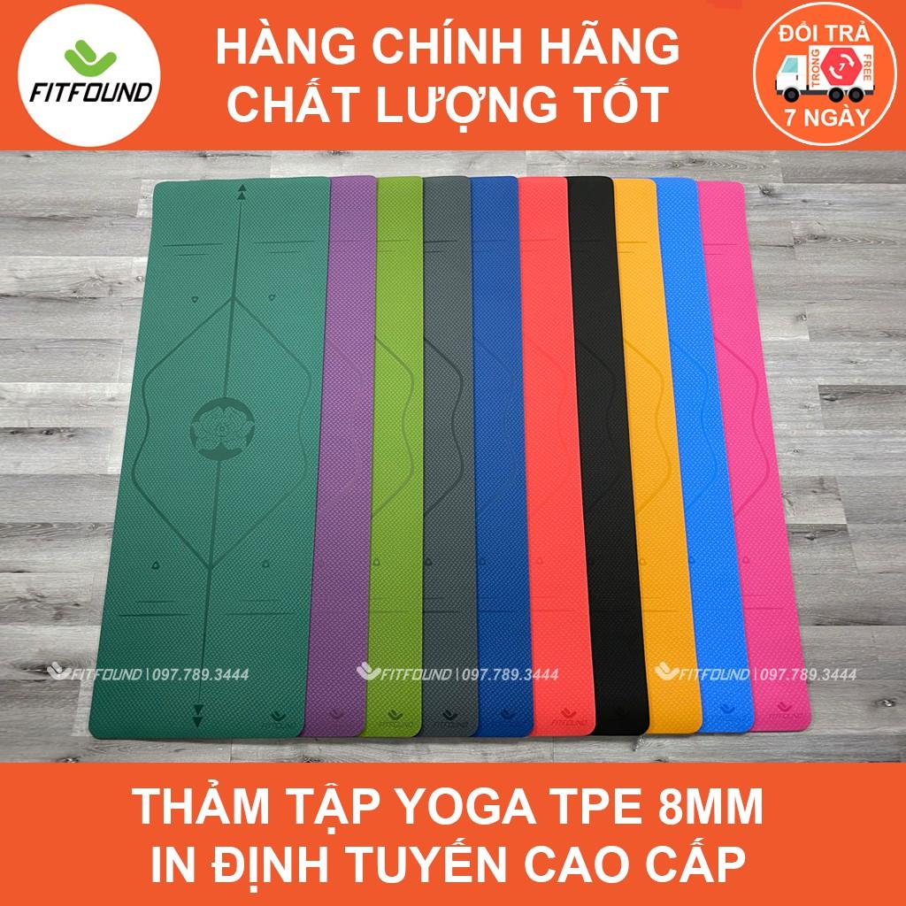 Thảm Tập Yoga Gym Pilates Thể Dục TPE 6 , 8mm In Định Tuyến Cao cấp Fitfound