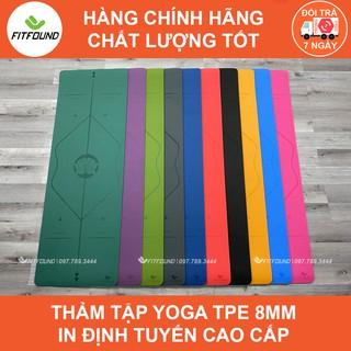 Thảm Tập Yoga Gym TPE 8MM Định Tuyến Cao cấp Siêu bền Chống trơn trượt Fitfound Tặng Dây buộc tập thể dục tại nhà
