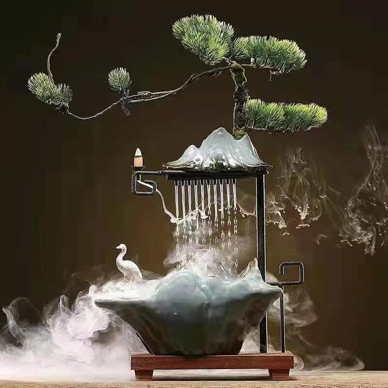 Thác trầm, tháp khói trầm hương, thác nước đèn led