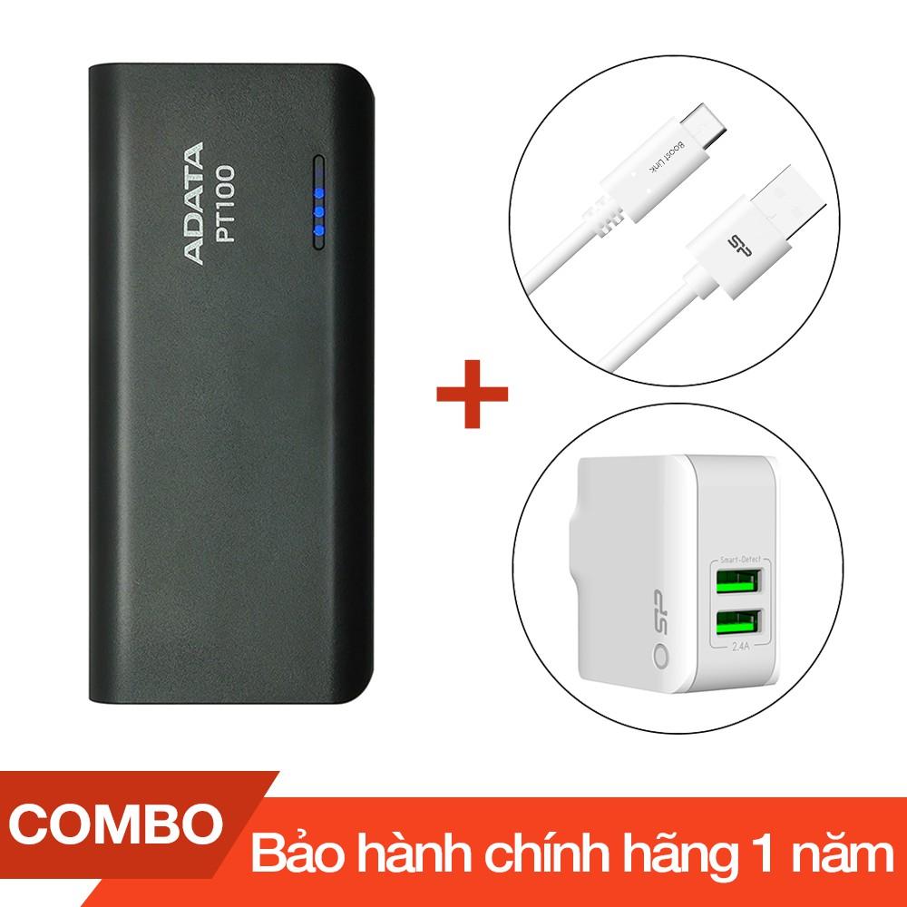 Combo Pin sạc dự phòng 10.000mAh ADATA PT100 + Cáp sạc Type-C Silicon dài 1m + Cốc sạc 2 cổng USB 2. - 2712966 , 1086132205 , 322_1086132205 , 600000 , Combo-Pin-sac-du-phong-10.000mAh-ADATA-PT100-Cap-sac-Type-C-Silicon-dai-1m-Coc-sac-2-cong-USB-2.-322_1086132205 , shopee.vn , Combo Pin sạc dự phòng 10.000mAh ADATA PT100 + Cáp sạc Type-C Silicon dài 1