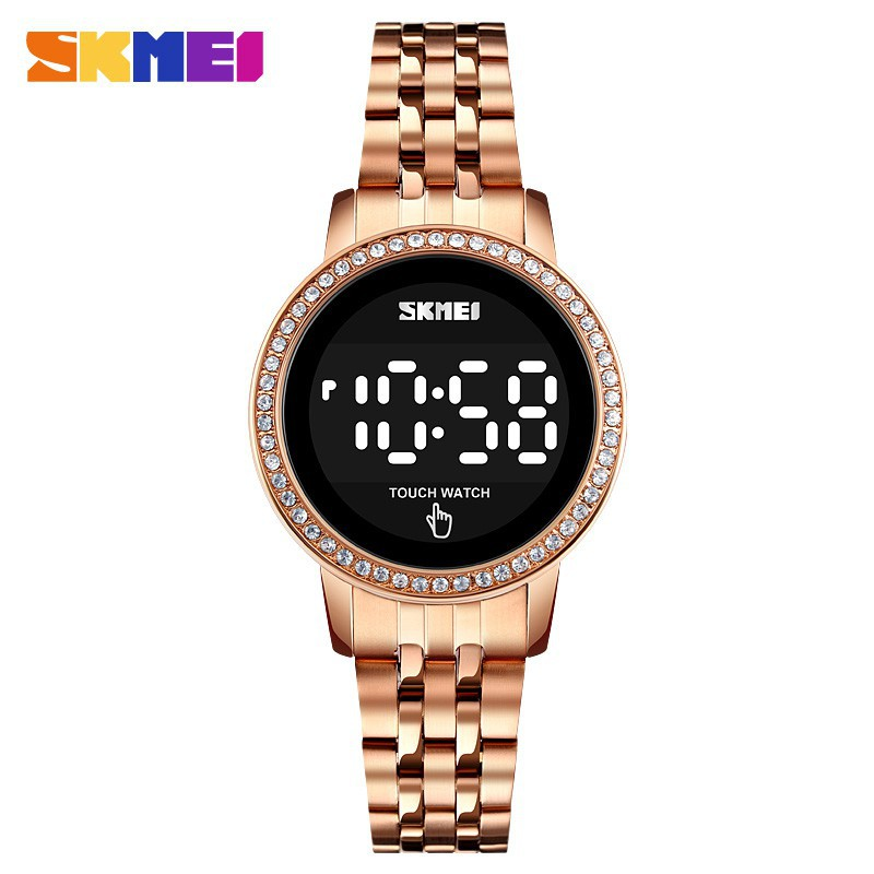 SKMEI 1669 Women Digital Watch Diamond Style Stainless Steel LED Light Casual Fashion Date Time Display