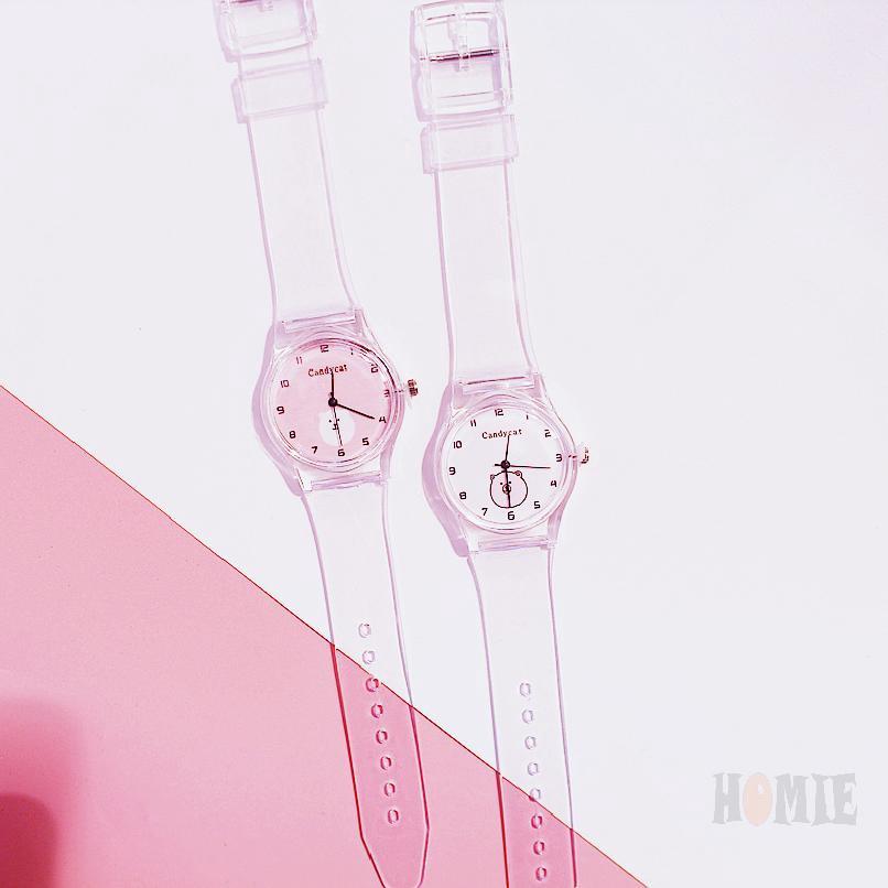 COD√ ผู้หญิงโปร่งใสดูเกาหลีเรียบง่ายน่ารักนักเรียนนาฬิกา 598