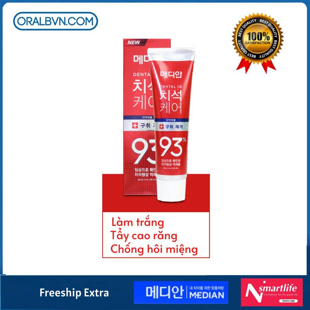 [HOT] Kem Đánh Răng Hàn Quốc Median 93% 120g màu đỏ làm trắng, chống hôi miệng, tẩy cao răng