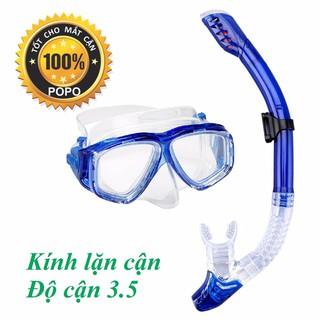 Combo Mặt nạ lặn Ống thở, CẬN độ cận từ 1.5 đến 8.0 độ, mắt KÍNH CƯỜNG LỰC – ống thở ngăn nước SPORTY