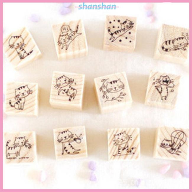 Mini Cute Cartoon Little Cat Rubber Stamp Seal Box Kit for DIY,Set of 12