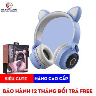 Tai Nghe Mèo TNM-02 Bluetooth Có Led Cao Cấp, Tai Phone Mèo Thế Hệ Mới Có Mic Đàm Thoại, Hỗ Trợ Thẻ Nhớ