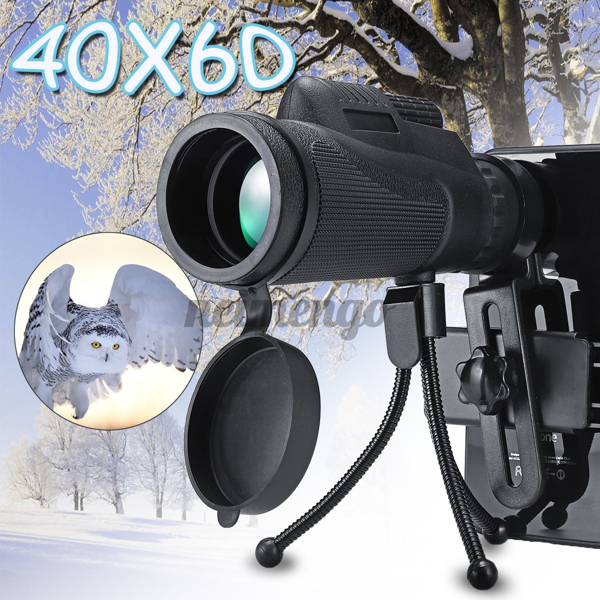 NMG 40X60 Zoom Mini HD Telescope Optical Lens Phone Camera Monocular + Clip + Tripod