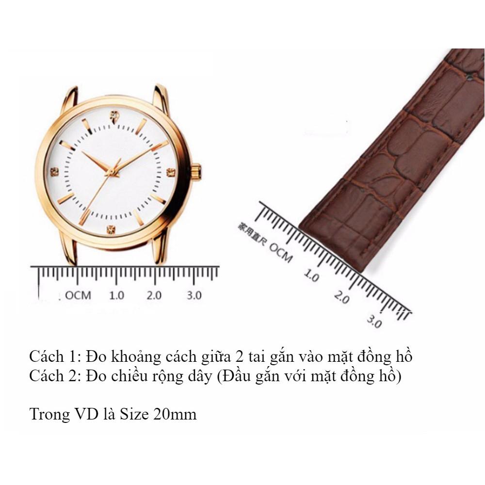 Dây đồng hồ da bò đeo tay khóa bướm (vàng) cao cấp