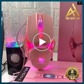 Chuột Máy Vi Tính PC Laptop Đèn LED 7 Màu Có Dây T-WOLF G530 Hồng - Chuột Gaming Mouse Chuyên Game Làm Việc Văn Phòng thumbnail