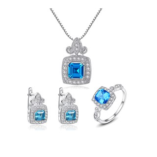 Bộ Trang Sức Bạc Nữ Đính Đá Màu Xanh Sang Trọng BNT16-Bảo Ngọc Jewelry