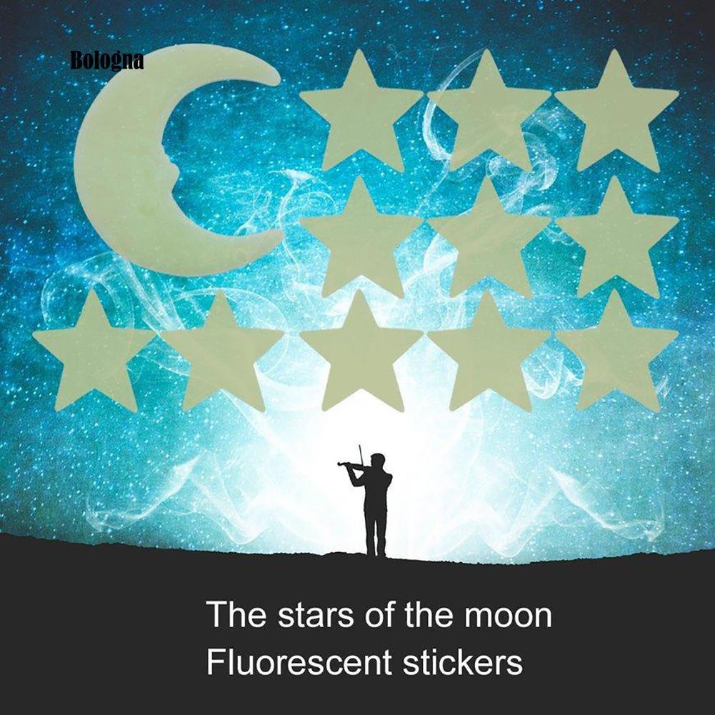 12 Sticker Dán Tường Dạ Quang Hình Trăng Sao