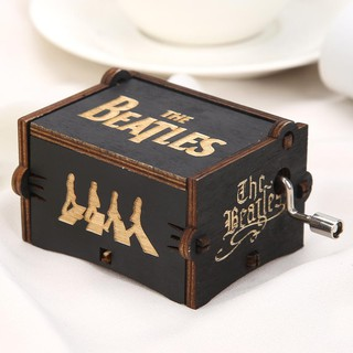 ✪WD✪Vintage Wooden Hand Cranked Music Box Home Ornaments Crafts Kids Gift