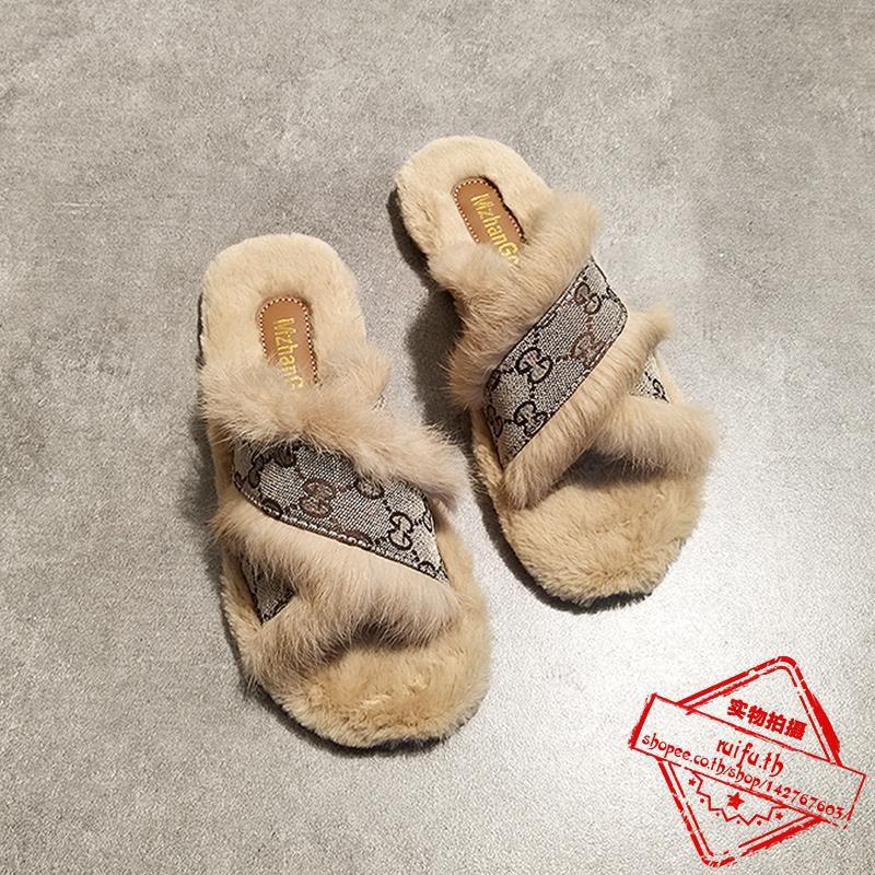 าวรองเท้าแตะที่ทำจากขนสัตว์แบนนอกเข็มขัดข้ามแบนกับครึ่งลากยุโรปและอเมริกาป่าที่อบอุ่นขี้เกียจลื่นลาก