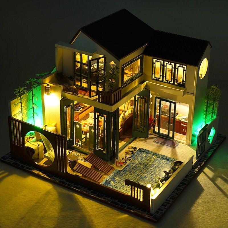 Mô hình nhà gỗ DIY – Biệt thự Trung Quốc hiện đại mẫu mới 2021 (Kèm mika)