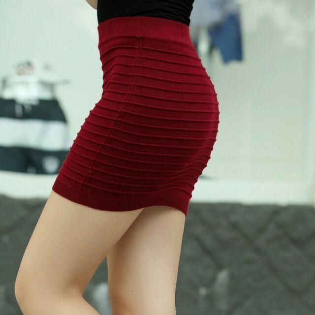Chân váy ôm len co giãn tốt