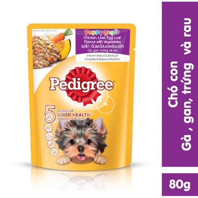 Sốt Pedigree cho chó con vị gà, gan, trứng và rau