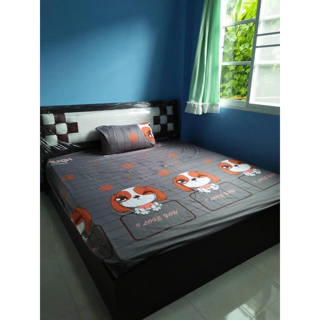 sansabuy-0065 ชุดผ้าปูที่นอนสีพื้น 3.5 ฟุต 3 ชิ้น สีเทาเข้ม ลวดลายหมาน้อยansabuy-0065 ชุดผ้าปูที่นอนสีพื้น 3.5 ฟุต 3 ชิ้