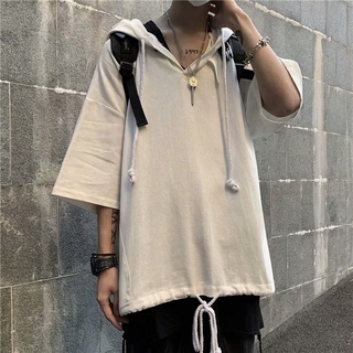 Korean Fashion Solid Men Clothes Loose Plain Short Sleeve Cotton Hoodies for Men Casual Trendy Student Thin Top Summer Outwear Oversize Style