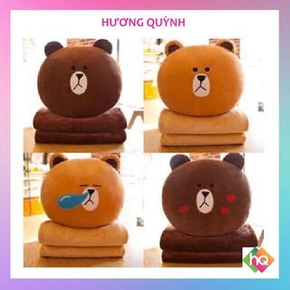 (HQ)Bộ chăn gối văn phòng gấu bông Brown Siêu Yêu 3in1
