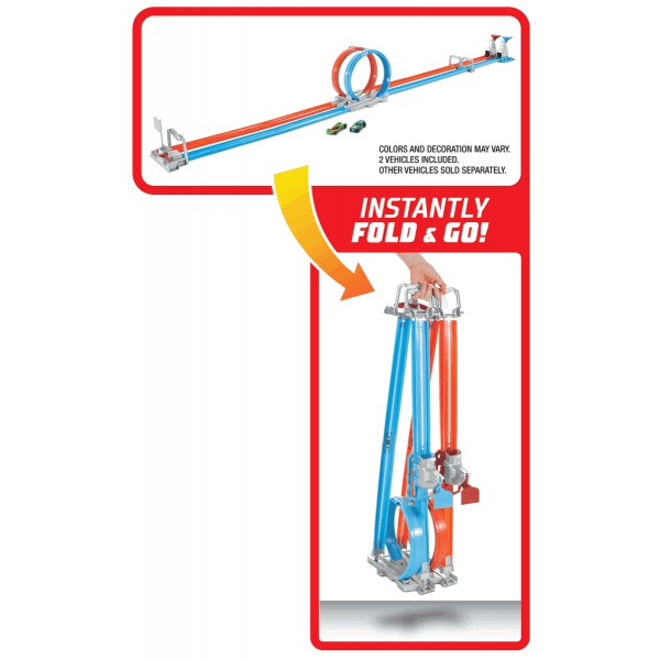 Hot Wheels GFH85 Đường đua xoắn kép siêu tốc xếp gọn