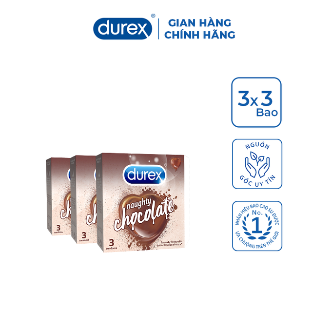 Bộ 3 Bao cao su Durex Naughty Chocolate (3 bao/hộp)