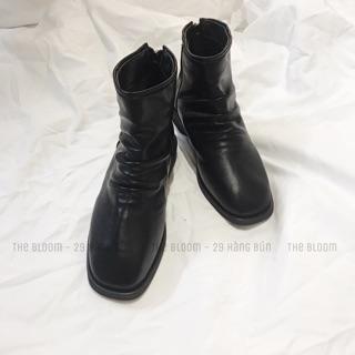 (Có sẵn) Boots da mềm dúm đen (Hàng loại 1, Ảnh thật)