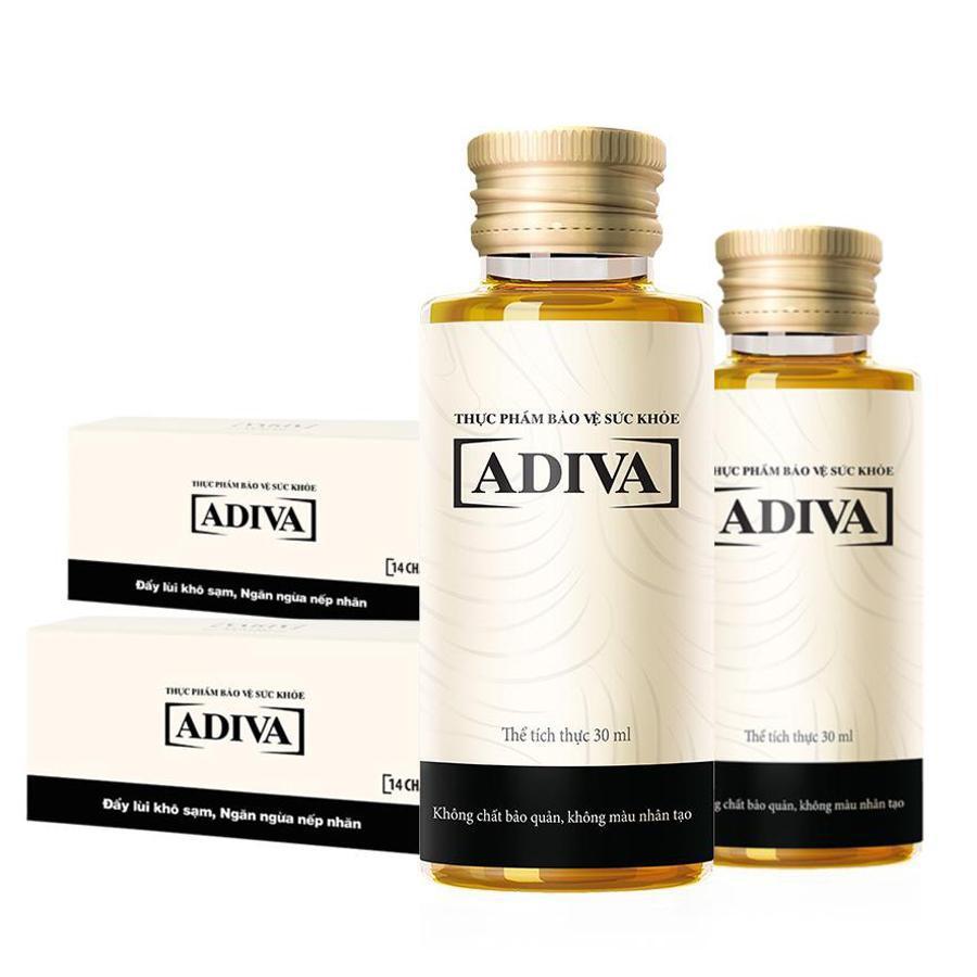 [Nhập COSDEP15 -15% ĐH300K]Bộ 2 hộp Collagen Adiva 14 lọ/hộp - dưỡng chất uống làm đẹp và đẩy lùi khô sạm