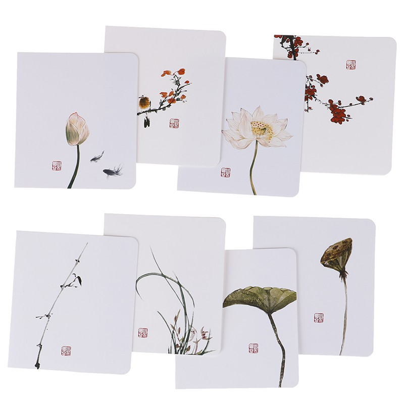 yiwuyuan 5pcs/pack Classical Chinese Greeting Card  Diy Birthday Christmas Blessing Card