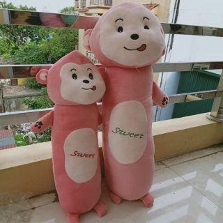 Combo gấu , gối ôm hai bạn khỉ hồng đáng yêu