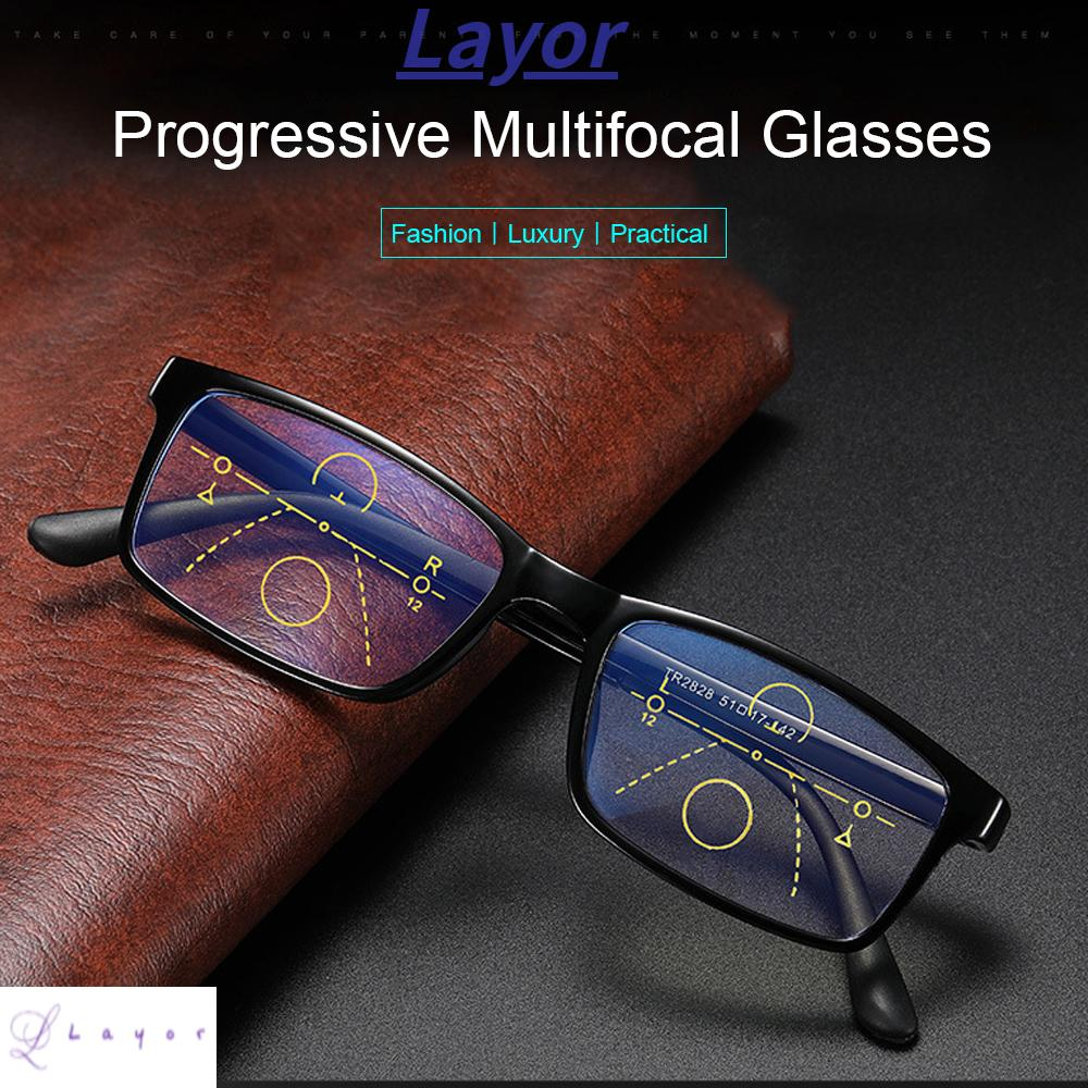 💜LAYOR💜 Anti-fatigue Anti Blue Light Reading Glasses Anti-UV Computer Goggles Progressive Presbyopic Eyewear Men Women Fashion Anti-blue Rays Radiation Protection Retro Classic Multifocal Bifocal Eyeglasses/Multicolor